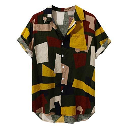 Myfilma ◔◡◔ Hawaiisches Ferien-Druck-T-Shirt der Art- und Weisemänner Loses Baumwollkurzschluss-Hülsen-beiläufiges Knopf-Hemd