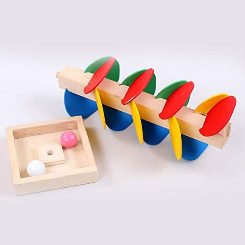 (Erduo Montessori pädagogisches Spielzeug Holz Baum Marmor Ball Lauf Track Spiel Baby Kinder Kinder Intelligenz pädagogisches Spielzeug - Multi-Color)