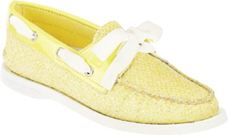 Sperry Authentic Original 2-Eye 9195017, Scarpe basse, Donna Lime Glitter/Patent