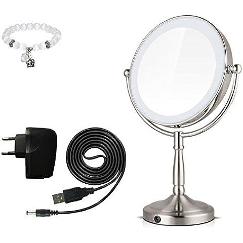 [ New Version] Flybeauty Round Double-Sided iluminado cosméticos espejo con luz y 3 X aumento giratorio mesa superior iluminado maquillaje espejo redondo con luz suave para el baño, tocador, cosméticos - plata (8 pulgadas)