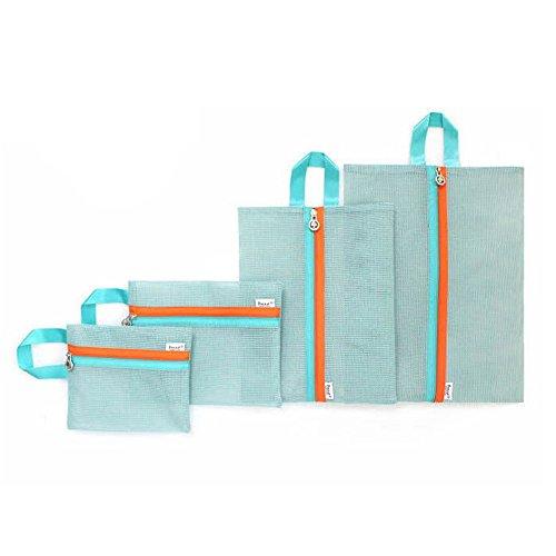 Qearly Tragbar Masche Packwuerfel Organizer Kleidertaschen Set Packtaschen Reise Kofferorganizer-Blau
