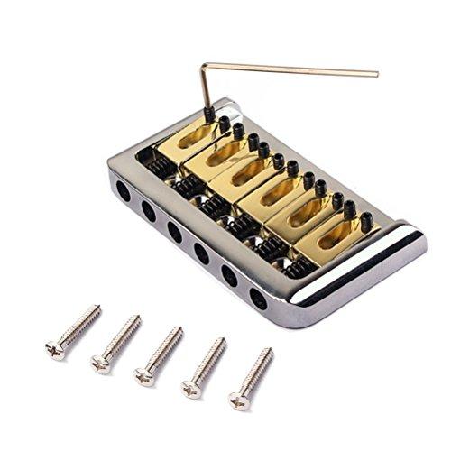 Healifty 6 String Chrome Hard-tail Feste Brücke Set mit Schraubenschlüssel und Schrauben für Fender Stratocaster Strat E-gitarre Ersatzteile (Golden)