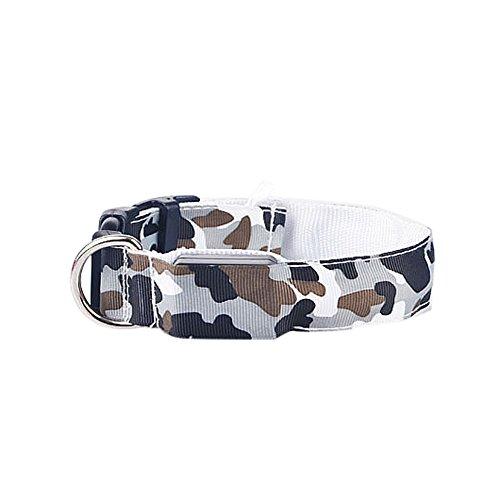 CAOQAO Style Camouflage Necklace Luminous für Hund und Haustier - Mit LED - Sicherheitsschnalle Halskette einstellbar - Hund und Tier Sicherheit während der Nacht