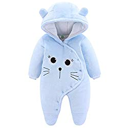 Baby Winter Fleece Overall Mit Kapuze M/ädchen Jungen Schneeanz/üge Warm Strampler Outfits Khaki 3-6 Monate 66