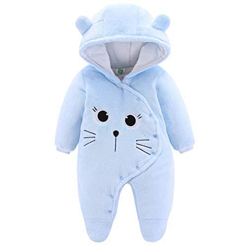 Bébé Combinaison de Neige Polaire Barboteuse à Capuche Hiver Tenues à Manches Longues Bleu 3-6 Mois