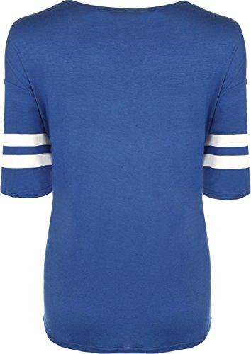 WearAll - Damen 85 Übergrößen sackartige Baseball drucken Kurzarm T-Shirt Top - 5 Farben - Größe 40-54 Königsblau