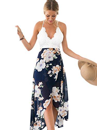 BMJL Kleid Frauen Chiffon Backless Spitze Halfter Neck Backless Beach Boho Long Midi Kleid