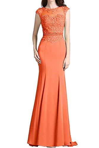 La_mia Braut Wassermelon Festlich Damen Spitze Langes Abendkleider Etuikleider Trumpet Meerjungfrau Ballkleider Orange