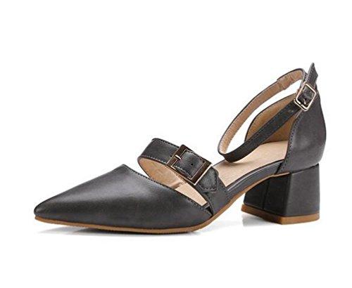 Beauqueen Anke Straps Pumps Spitz-Zehen-Niet-Dekoration Chunky Low Heel Arbeit Schuhe EU Größe 33-43 Grey