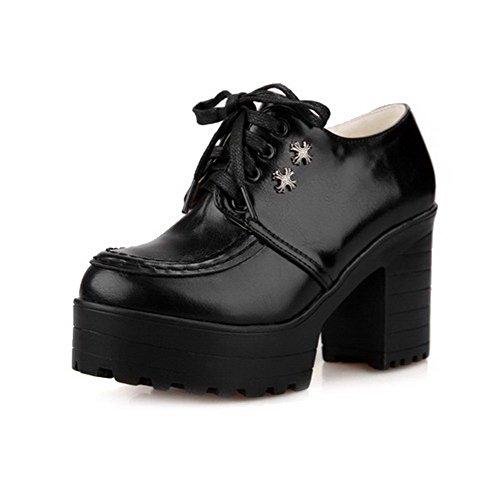 VogueZone009 Femme Matière Souple Rond à Talon Haut Lacet Couleur Unie Chaussures Légeres Noir