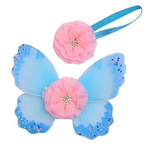 Baby-Foto Requisiten Neugeborene baby fotoshooting Fotografie Kostüm Blumen Stirnband Butterfly Wings - Hellblau, one ()