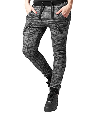 Urban Classics Ladies Fitted Melange Zip Sweatpants Pantaloni jogging donna grigio/nero XL