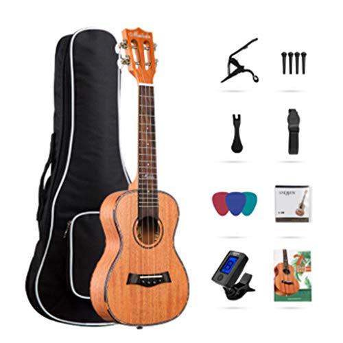 Zjjxd ukulele da 23 pollici in mogano, design con fiocco sul retro, con custodia per pianoforte, corde, libri di testo, cinturini, accordatore, cambiafili, pagaia