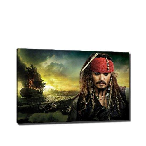 Preisvergleich Produktbild Fluch der Karibik Bild auf Leinwand - 60 x 40 cm - Fertig gerahmte Kunstdruck Bilder als Wandbild - Billiger als Ölbild Gemälde - KEIN Poster oder Plakat