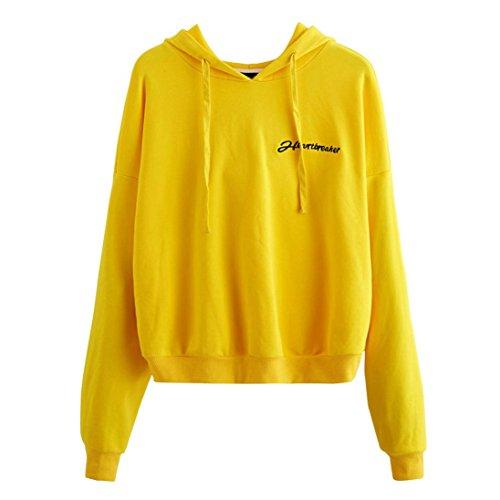 Xinan Kapuzenpullis Langarm Damen Hoodie Sweatshirt mit Pullover Tops Bluse Stickerei Kapuzen von (Gelb#) (Gelb Mädchen Shorts)