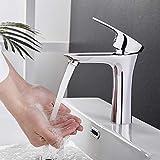 BONADE Waschbecken Wasserhahn Bad Waschtischarmatur Verchromte Armatur Einhebel Mischbatterie Elegante Einhandmischer für Badezimmer Badwanne