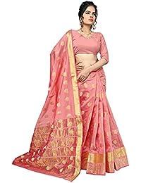 Women's Salmon Colour Banarasi Silk Designer Weaving Saree By Brand Manvaa