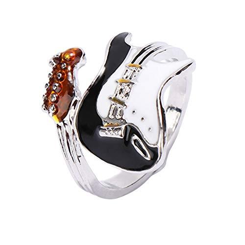 BQZB Ring Personalisierte Punk Stil Übertreibung Ring Kreative Schwarz Weiß Geölt Gitarre Ring Musik Glänzende Ringe Frauen und Männer Schmuck