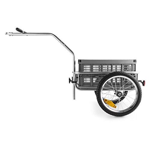 DURAMAXX Bigbig Box Fahrradanhänger Handwagen (Hochdeichsel-Kupplung, Transportbox mit 40 Liter Volumen, bis max. 40 kg belastbar, Handgriffe, Autoventil) grau - 2