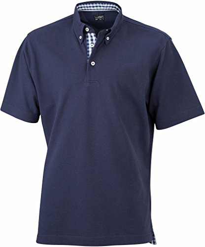 James & Nicholson Button-Down-Polo mit modischem Karo-Einsatz (XL, navy/navy-white)