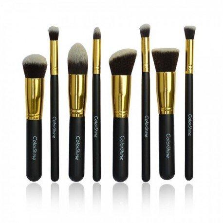 8 pinceaux maquillage qualité professionnelle Noir