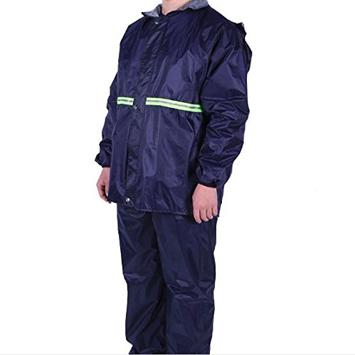 TARKAN Men's Double Layer Windproof Raincoat with Reflective Neon Strip and Dual Pockets for Hiking, Biking, XL (Navy Blue, SD_TK_RAINCOAT_PVC_XL)