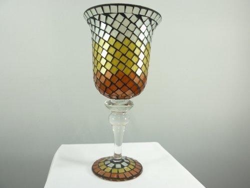 Bezauberndes Mosaik-Windlicht Pokal weiß-gelb-orange Teelichthlater