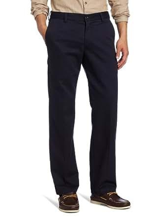 IZOD Men's American Chino Flat Front Slim Fit Pant, Navy, 28W x 29L