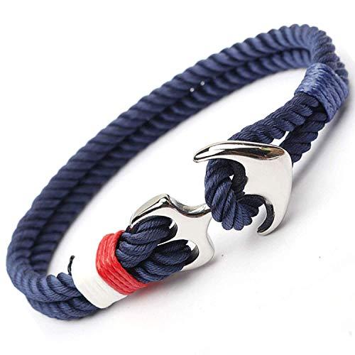 Bracelets Anker Armband mit hochwertigem silbernen Edelstahl Schiffsanker mit Seil in Blau mit Hakenverschluss für Herren/Damen Schmuck - Anker-seil-armband Männer