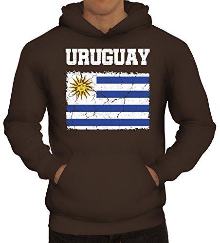 Trikot Fußball WM Fanfest Gruppen Fan Herren Hoodie Männer Kapuzenpullover Wappen Uruguay, Größe: L,braun