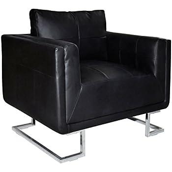 vidaXL Fauteuil Cube en cuir Noir Sofa en cuir Fauteuil de salon