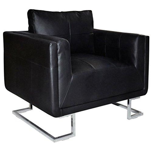 vidaXL Fauteuil Cube en Cuir Noir Sofa en Cuir Fauteuil de Salon Canapé en Cuir