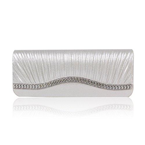 Damara® Damen Faltenwurf Lang Strass Abendtasche In Einfarbig Silber