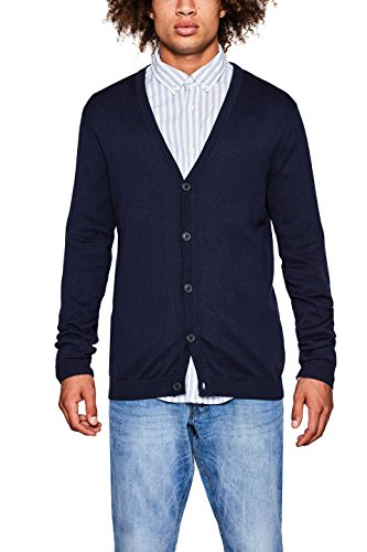 edc by ESPRIT Herren Strickjacke 097CC2I017, Blau (Navy 400), X-Large