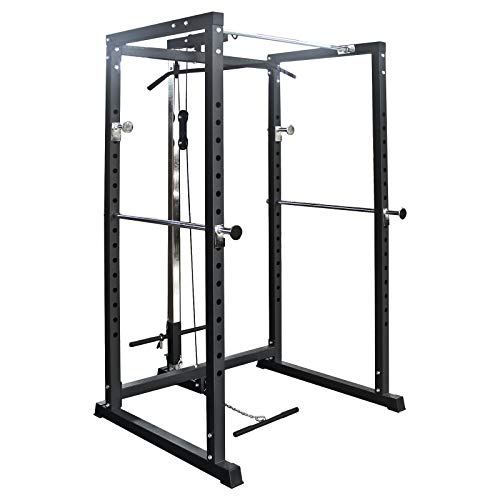 TrainHard Power Rack Hantel Käfig Squat Multipresse mit Latzug