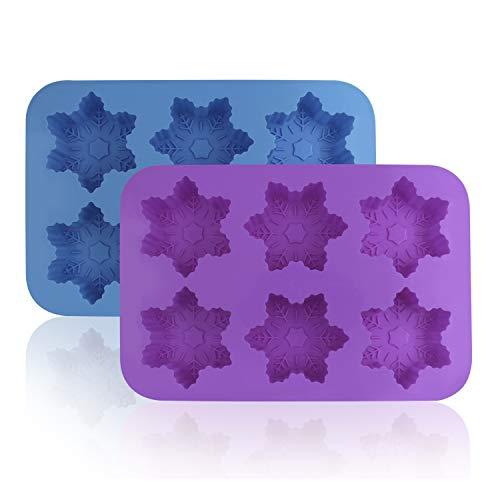 Silikon Schneeflocke Formen, finegood 2Stück Kuchen Schokolade Pudding Jelly Seife Muffin Tabletts für Küche Backen Dekoration, 6-cavity–Blau, Violett