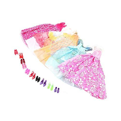 5 stück handgefertigte Prinzessin Party Kleid Kleider Kleidung 10 Schuhe für Barbie Puppe - Multicolor