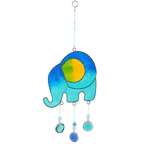 Jones Home and Gift Quelque Chose de différent éléphant Sun Catcher, Verre, Bleu, 9.5 x 0.1 x 28 cm