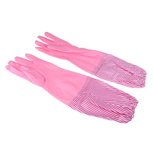 F Fityle Wasserdichte Arbeitshandschuhe Küchenhandschuhe Haushaltshandschuhe Gummihandschuhe gefüttert Geschirrspülen Handschuhe - Rosa