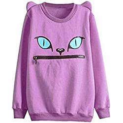 hqclothingbox Women Zip Mouth Smile Shoulder 3D Ear Cat Jumper Sweatshirt Top