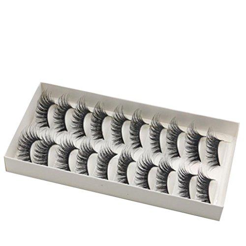 10 Paar der Künstliche Wimpern,MEIbax 3D Lang Kreuz künstliche Wimpern Schwarz Eyelasches Wimpernverlängerung,Natürlich Künstliche Wimpern,Falsche Voluminöse Wimpern (Schwarz)