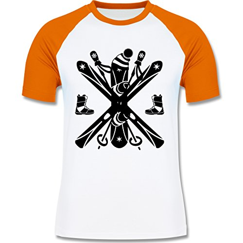 Wintersport - Ski Snowboard Wintersport - zweifarbiges Baseballshirt für Männer Weiß/Orange