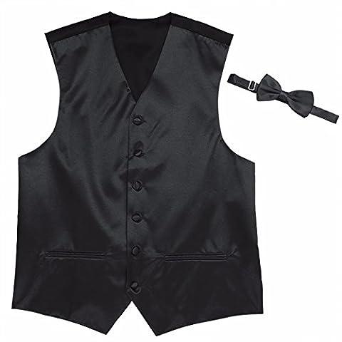 iEFiEL Mens Fashion Sleeveless Dress Vest with Bowtie Set for Formal Suit or Tuxedo Black XXXX-Large
