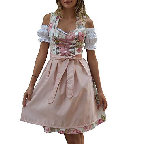 Kostüm Hut Schürze Set & Urlaub - Oktoberfest Kostüm für Damen Bierfest Bayerisches Blumendruck Zofe Abendkleid Spitzen Biermädchen Schulterfrei Taverne Bar Dress Traditionelles Midikleid Karneval Kostüm (M, Weiß)