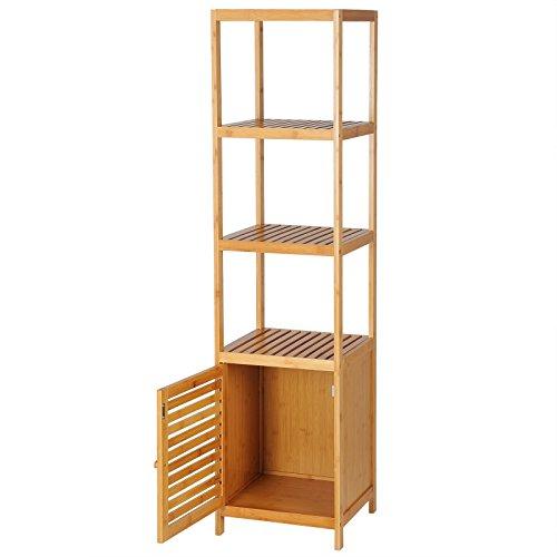 WOLTU RG9289 Étagère en Bambou avec Espace de Rangement pour Salle de Bain ou Salon Environ 36x33x140cm
