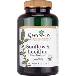 Swanson Sonnenblumen-Lecithin 1200mg (Ohne Gentechnik Phosphatidylcholin) 90 Softgelkapseln – Nährstoffreiche Alternative zu Sojalecithin – Hohe Konzentration an Linolsäure, Ölsäure, Palmitinsäure & Stearinsäure (Non-GMO Phosphatidyl-Choline Sunflower Lecithin softgels capsules)