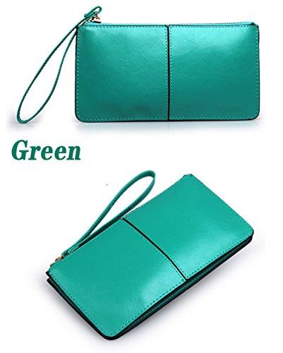 H&W Liscia Pelle Portafoglio Cinturino Polso Clutch Borsa Rosa verde