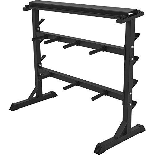 GORILLA SPORTS® Hantelscheiben-Ständer 30/31 mm - Ablage für Gewichte Schwarz