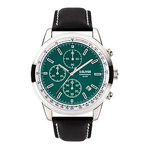 s.Oliver Herren Chronograph Quarz Uhr mit Leder Armband SO-3934-LC