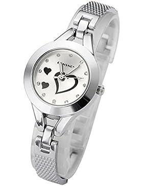 SSITG Analog Damenuhr Armbanduhr Herz Armreif Armband Quarzuhr Strass Markers Geschenk